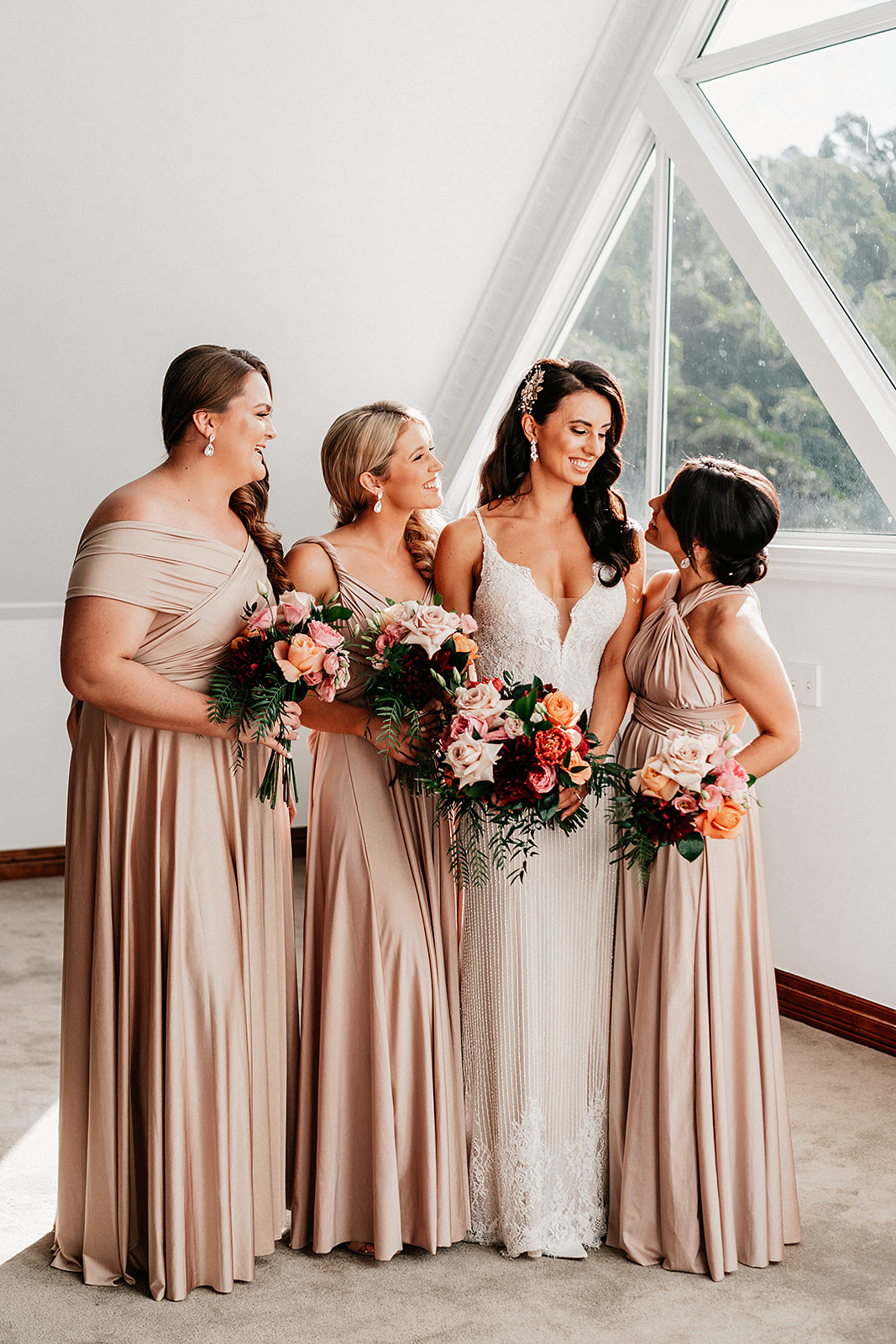Wedding Flowers in all Burgundy, Antique Pink, Apricot, Burnt Orange and Dark Lush Greenery