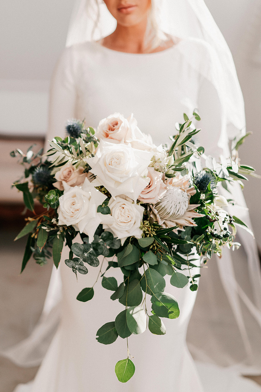 Blush Pink amd White Roses with Rustic Sage Green Wedding Flowers