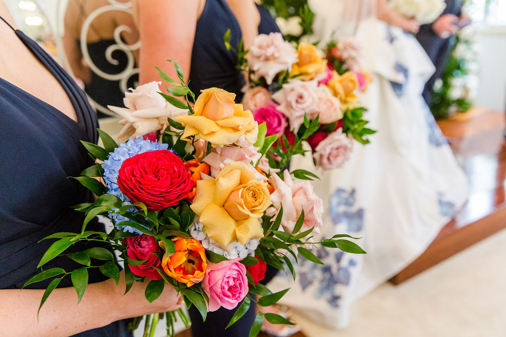 Bright Wedding Flower Bouquet with matching Dalce & Gabbana Shoes