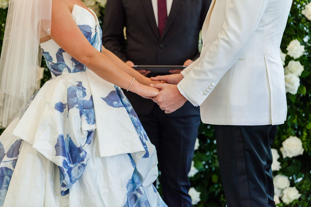Monique Lhuillier Gown, Catier Engagment Ring With Matching Bridal Bands Omega Watch & Dolce & Gabbana Bridal Acessories