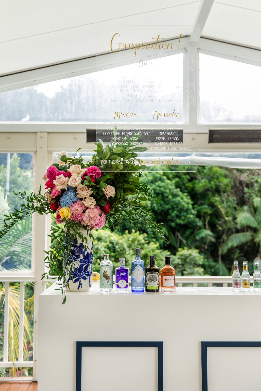 Gin Station at Wedding Reception and Cocktail Garden Party
