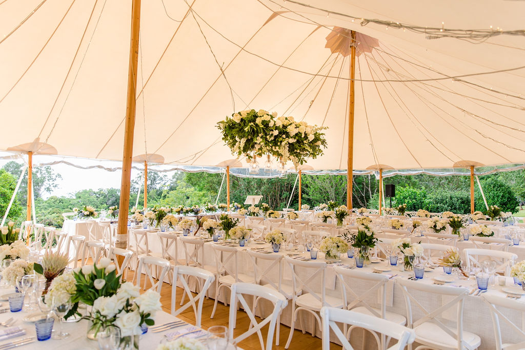 Wedding Flowers Hanging Structure Underneath Sperry Tent