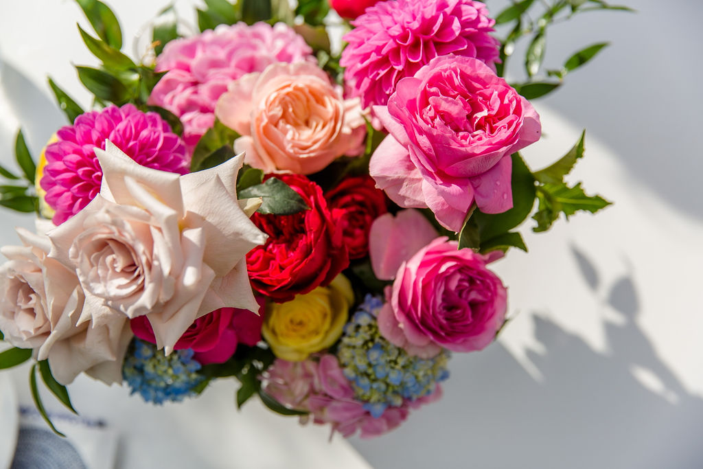 Bright Wedding Flowers with Bright Pink, Orange and Yellow