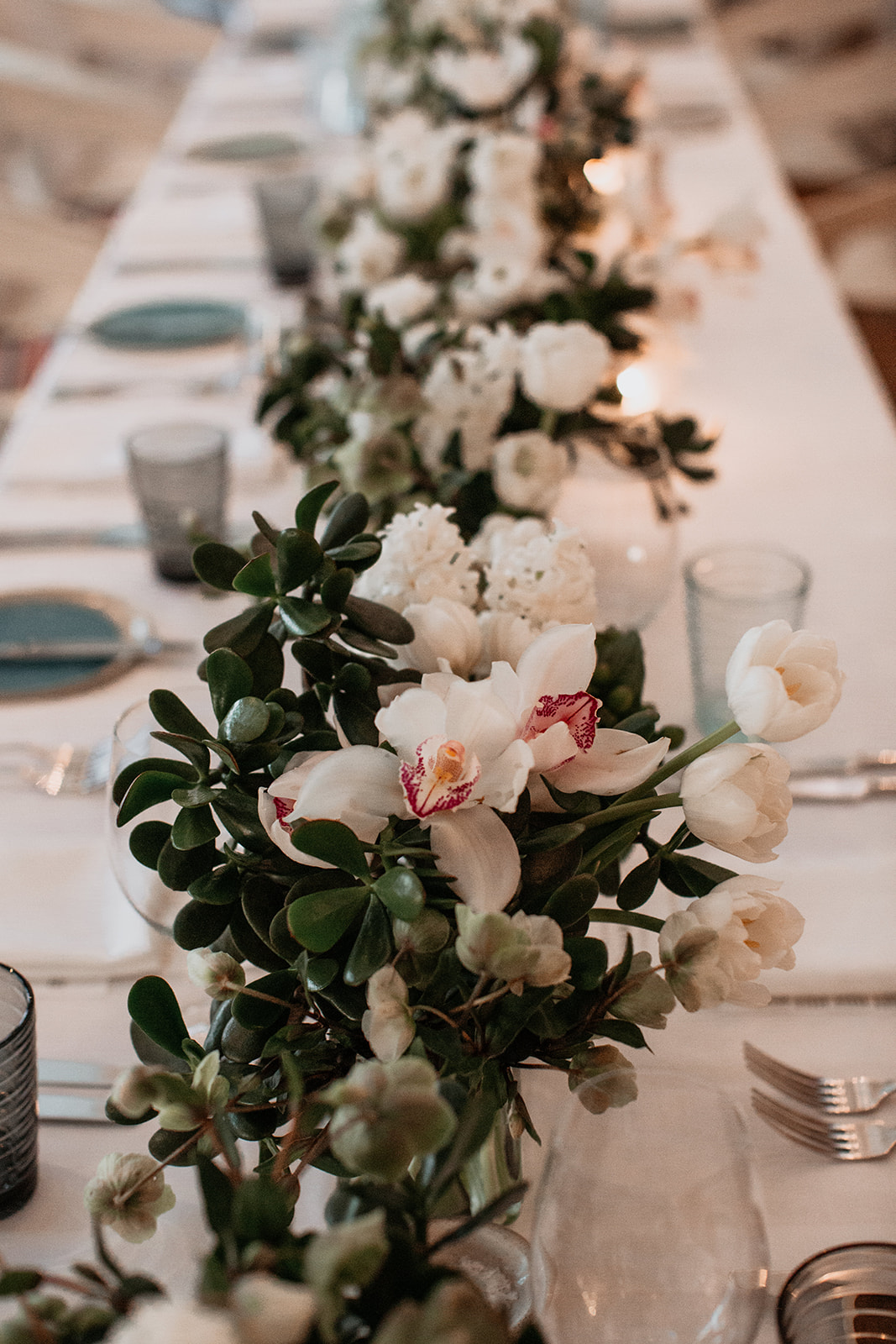White Wedding Blooms With Burgundy Touches