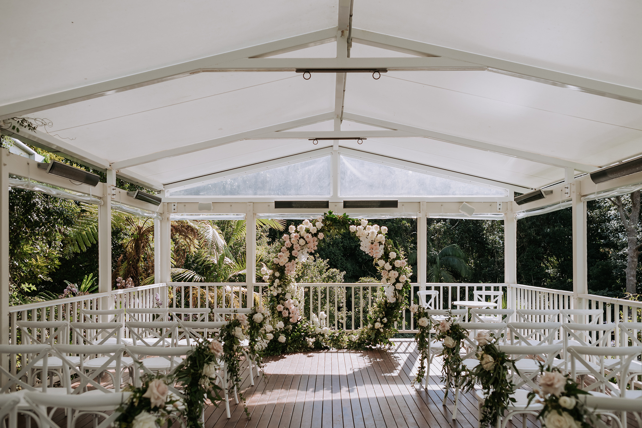 Ceremony floral ring and chair garlands