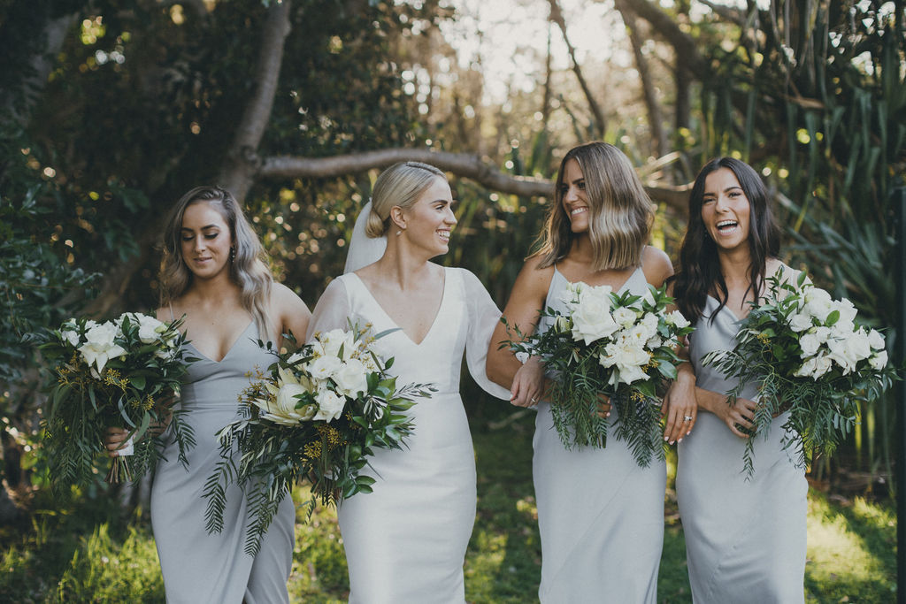 White natives with rustic inspired foliage wedding bouquet