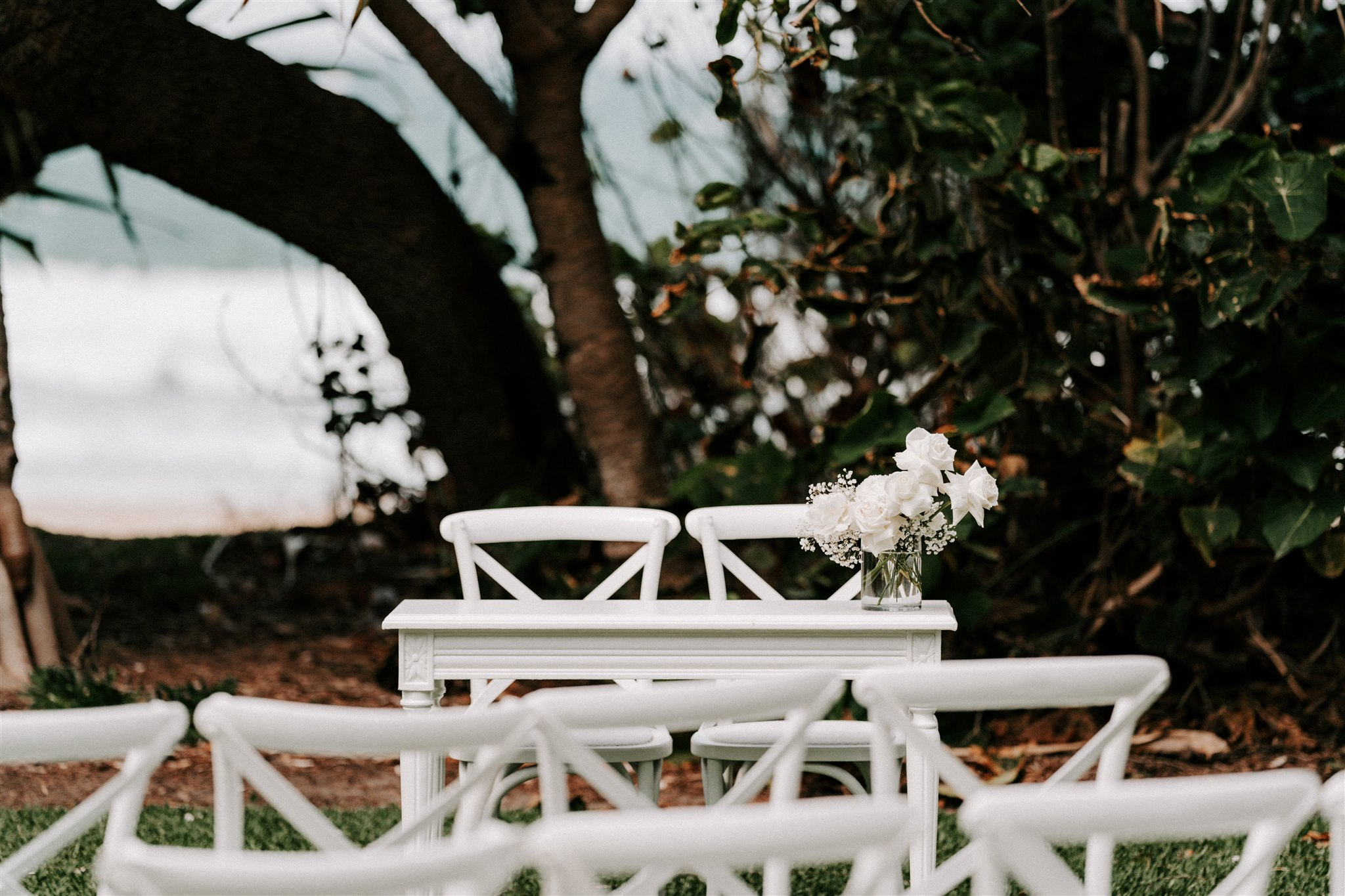 Modern All White Flower Wedding, Coastal Style
