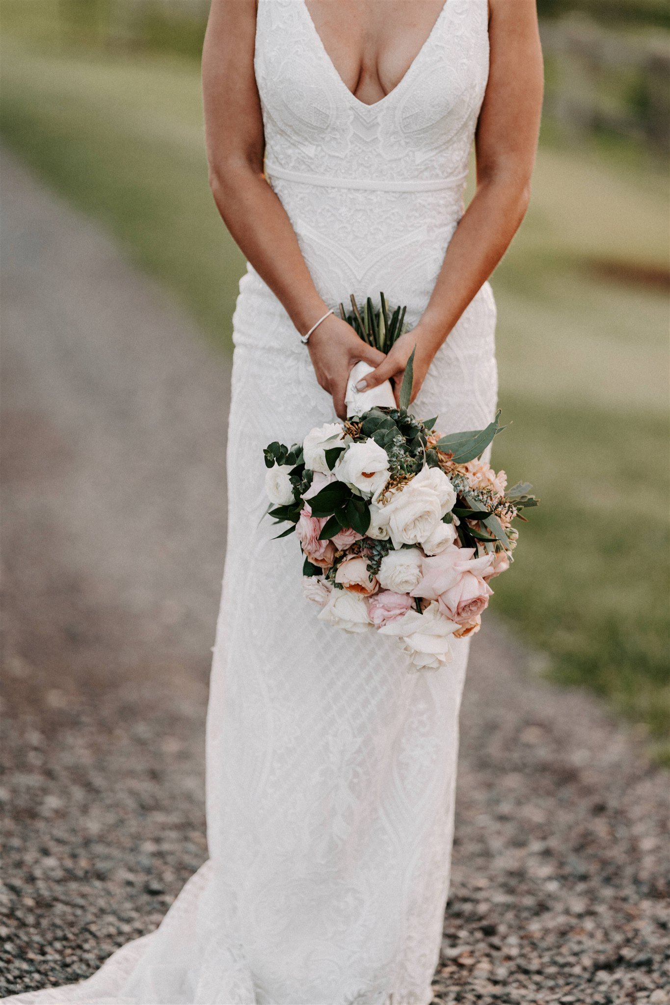 White Roses, Apricot and Peach Blooms with Sage green foliage