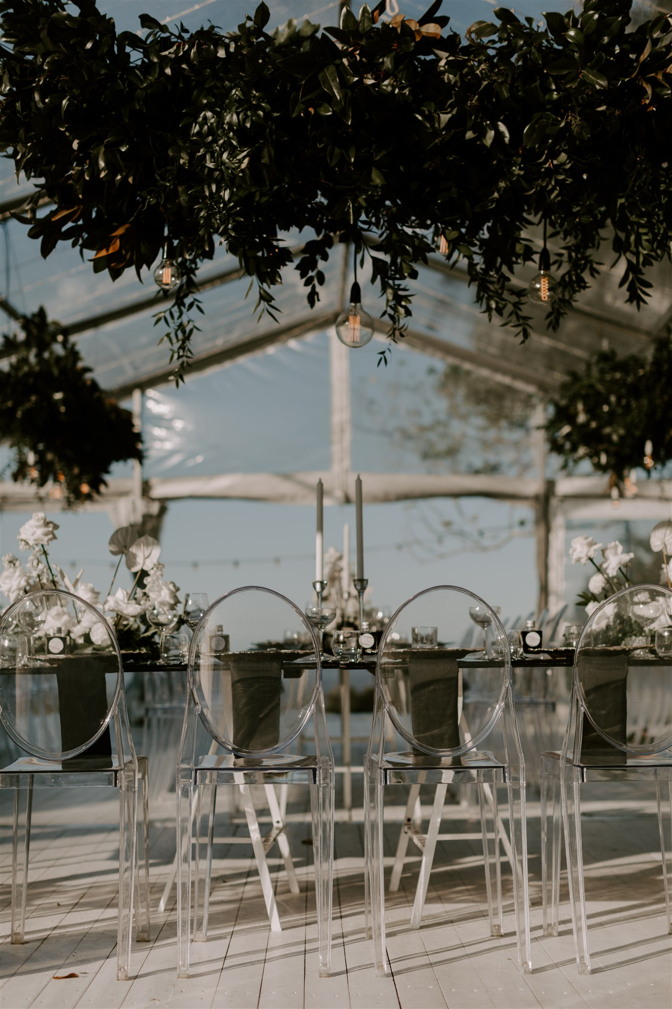 Modern contemporary reception floral styling