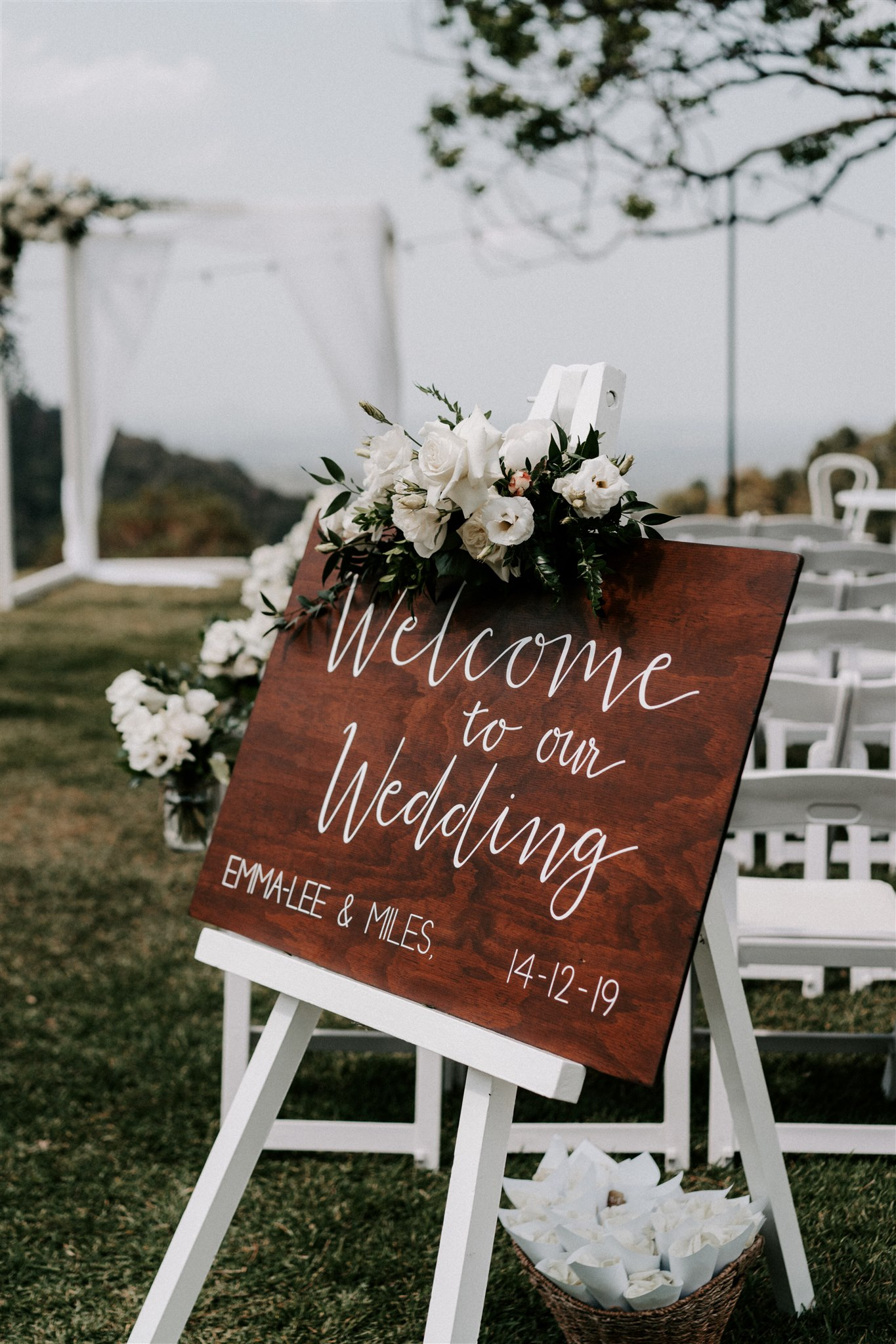 Entry sign flowers