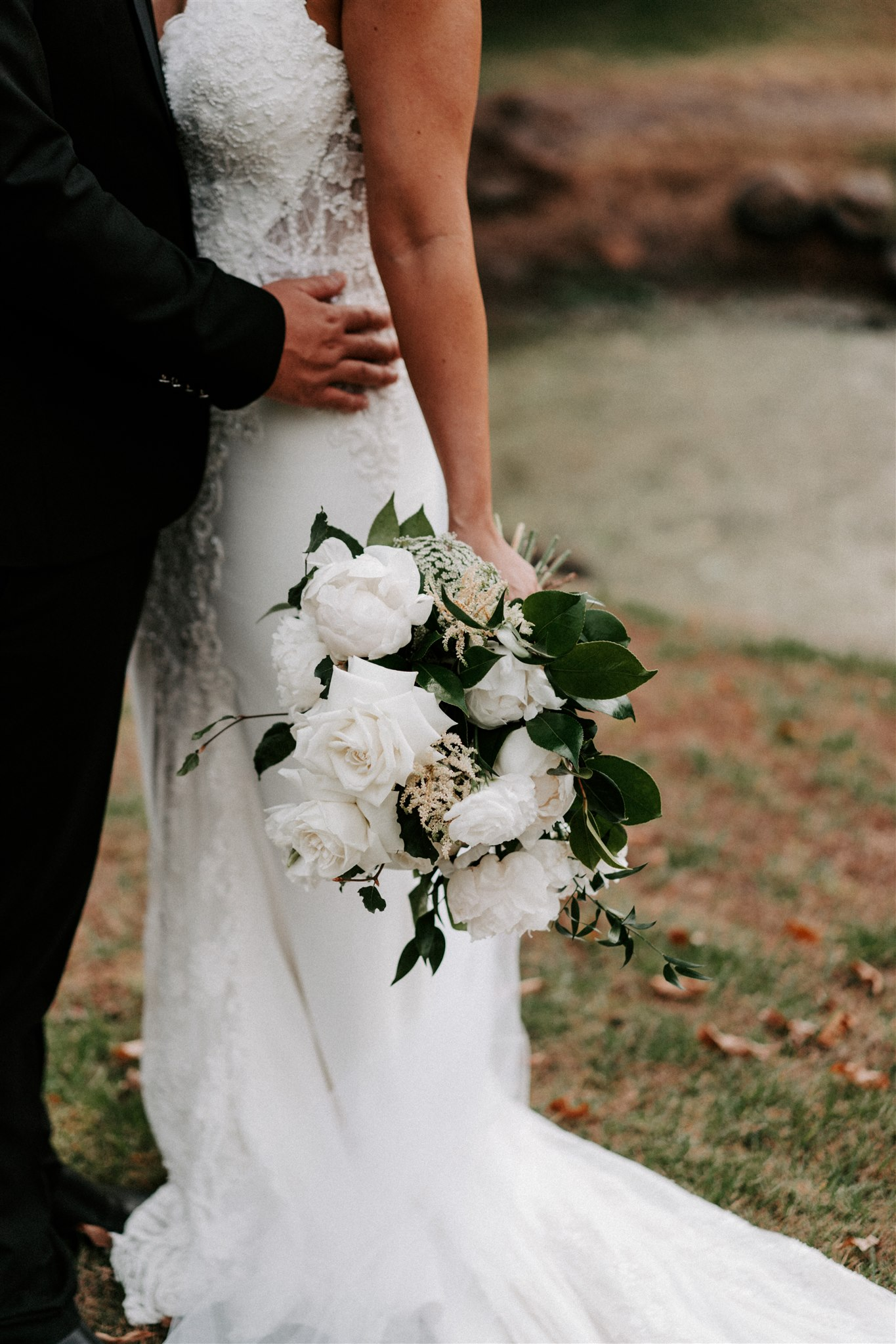 White wedding bouquets in white and lush green tones