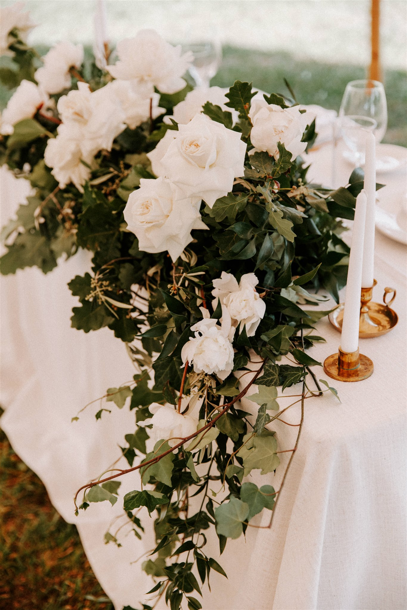 White wedding reception flowers
