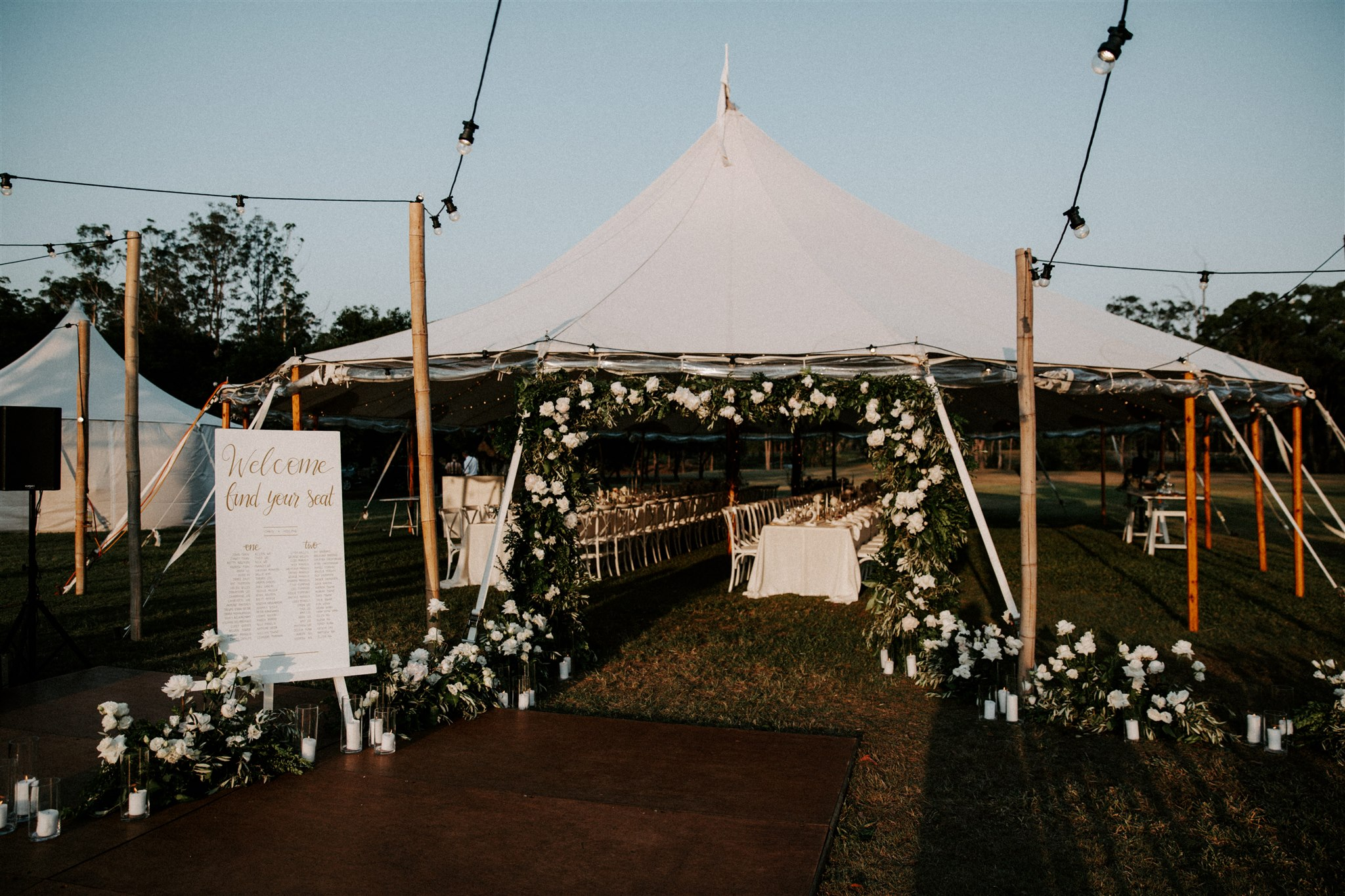 White and green Tipi wedding reception