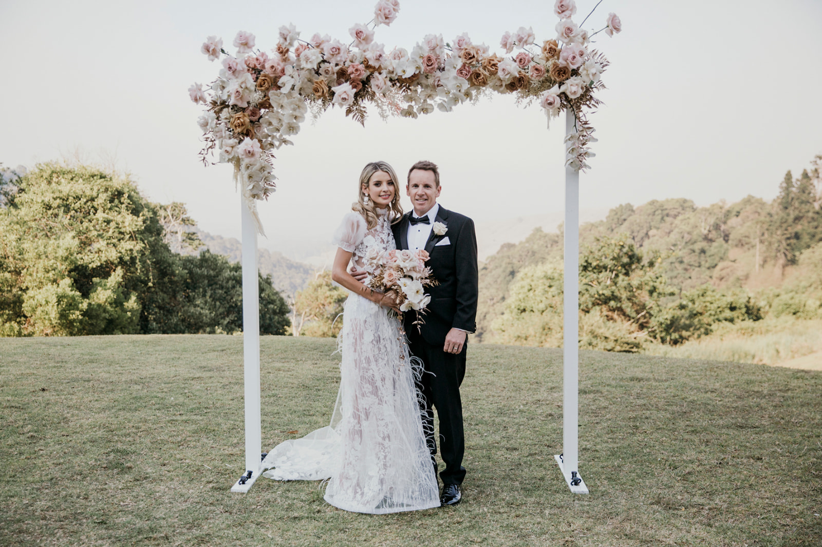 Modern Sunshine Coast Wedding With Antique Pink Flowers