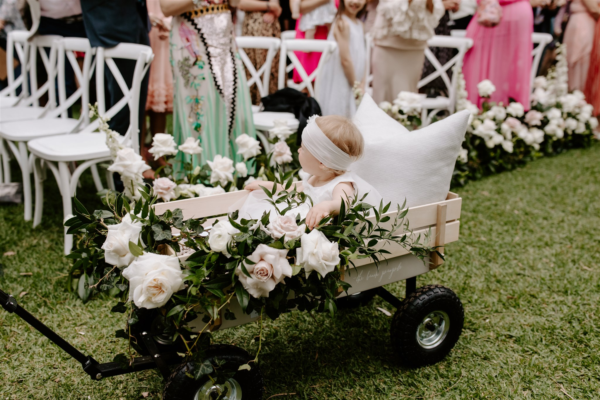 Flower girl cart floral feature