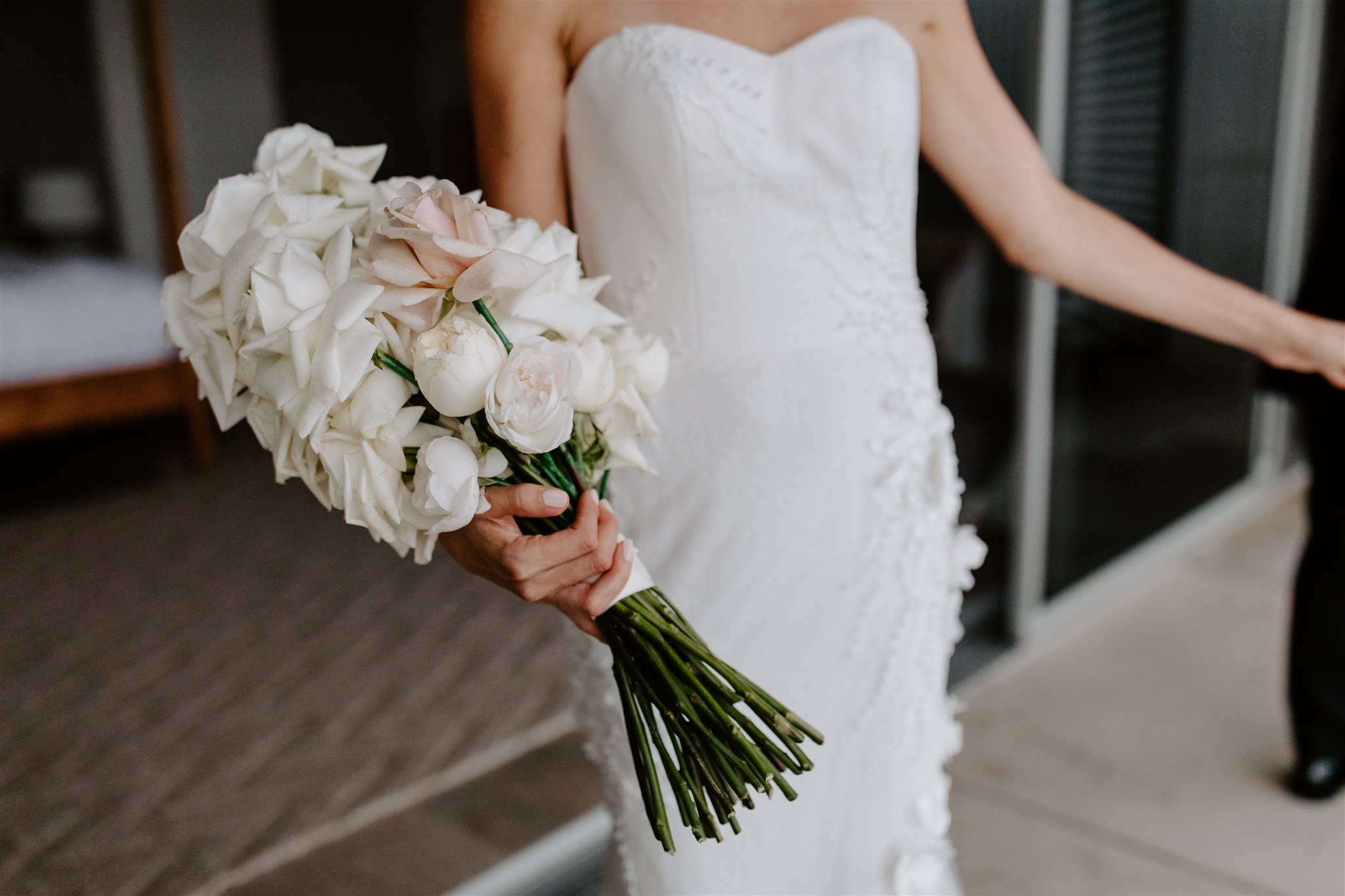Long stem modern wedding bouquet