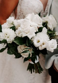 Lush White and Green Florals