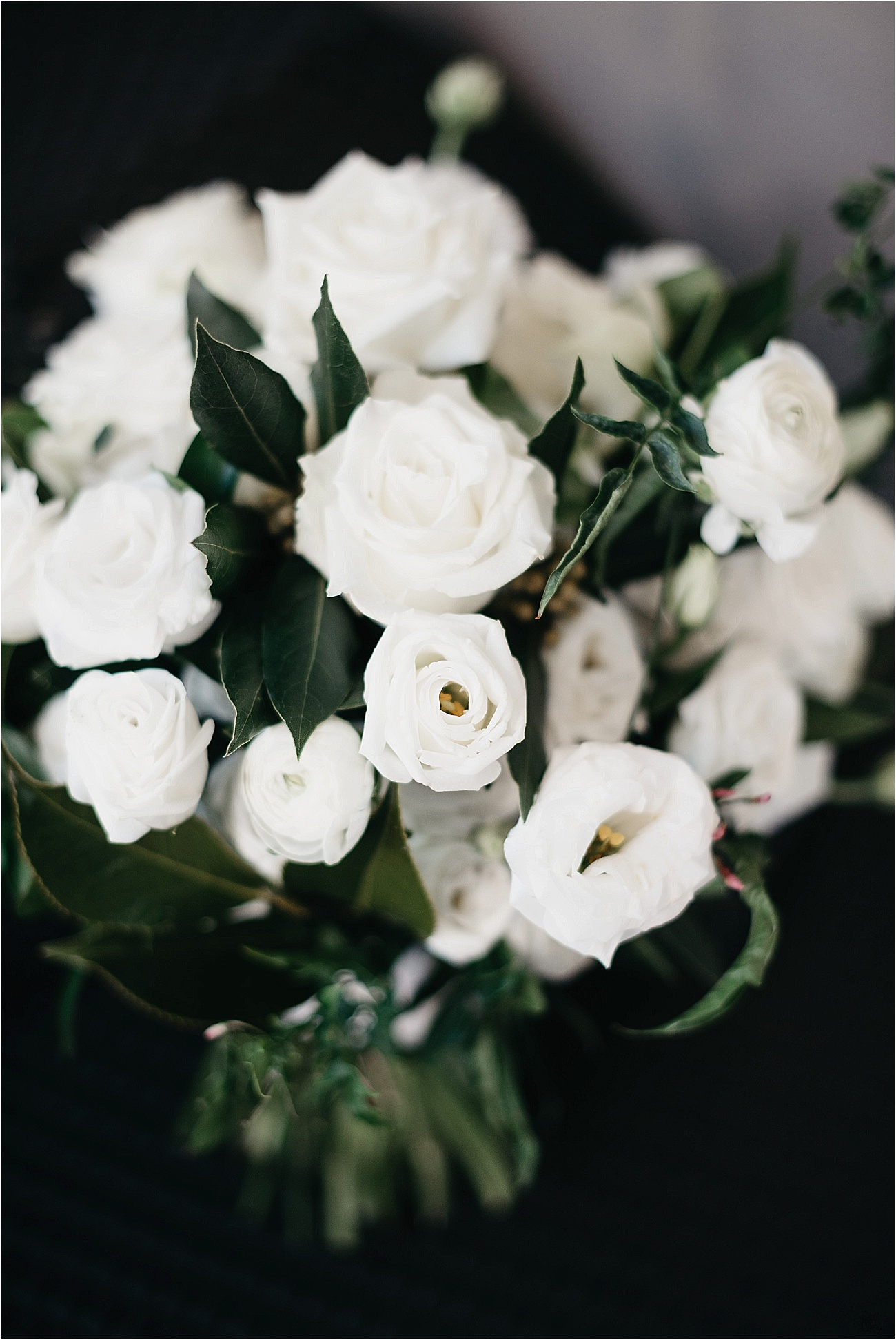 White and lush green wedding bouquet