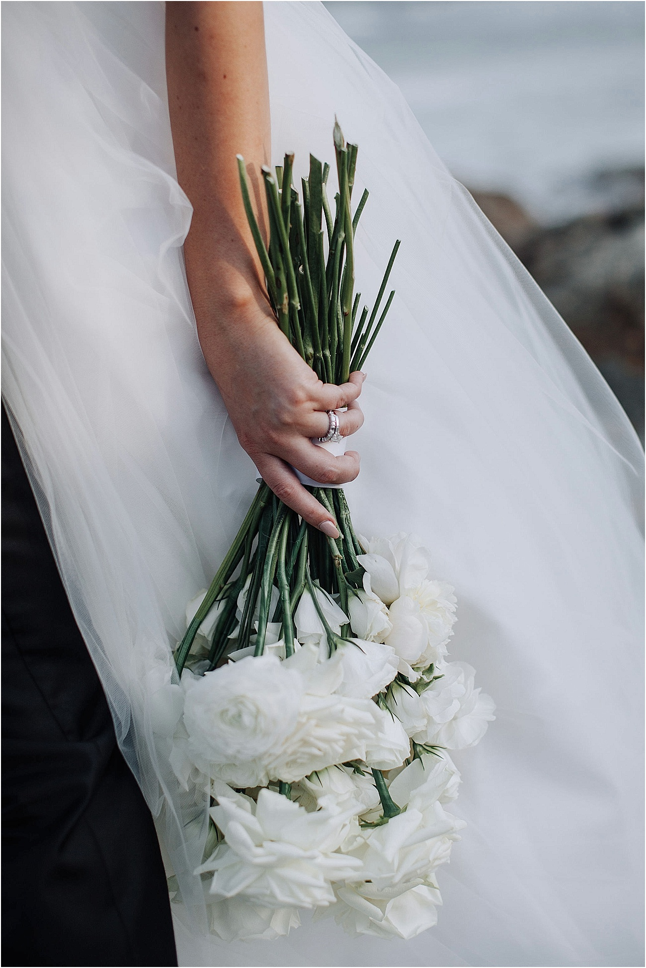 Modern white wedding bouquet