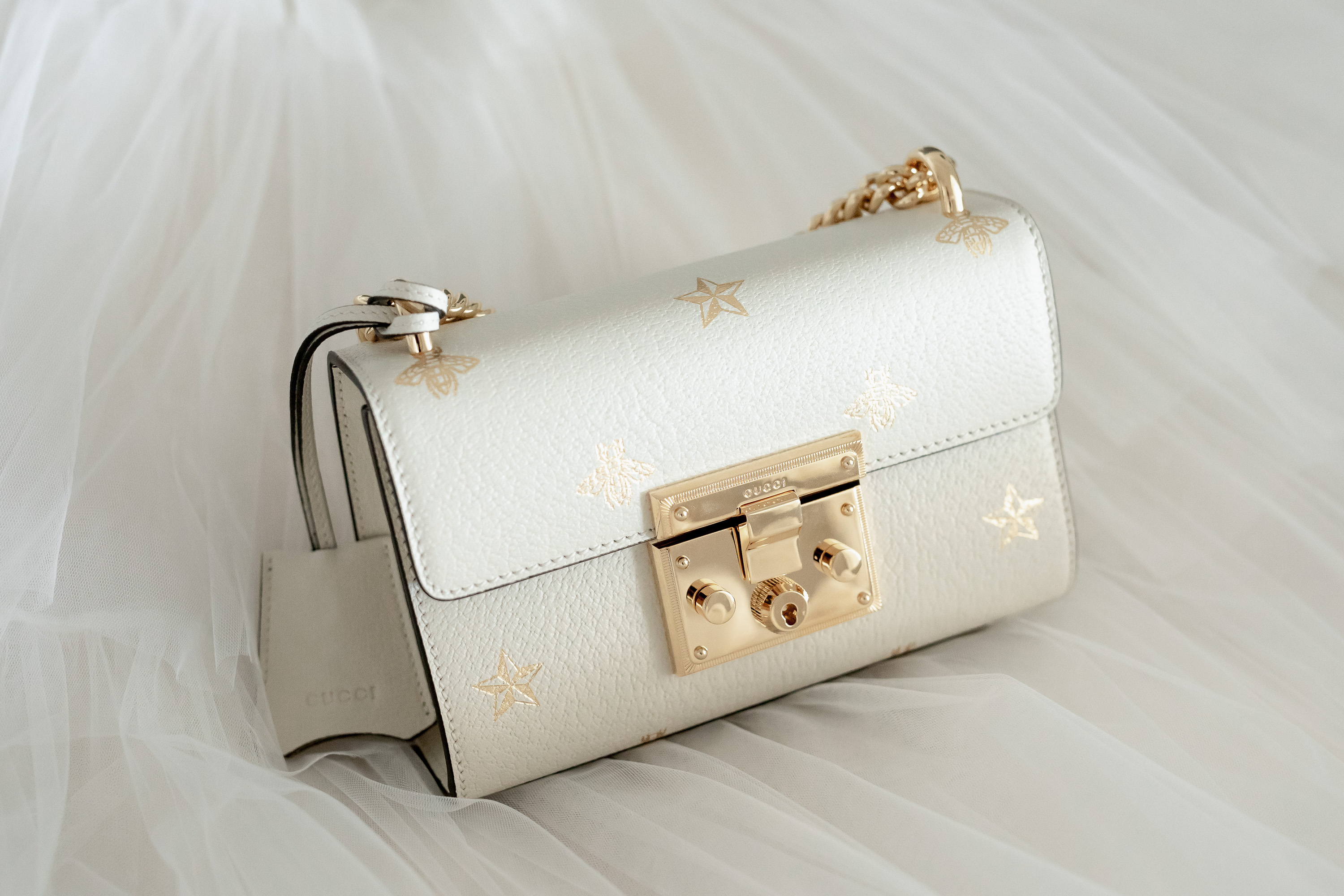 Gucci Bag Gold and Cream
