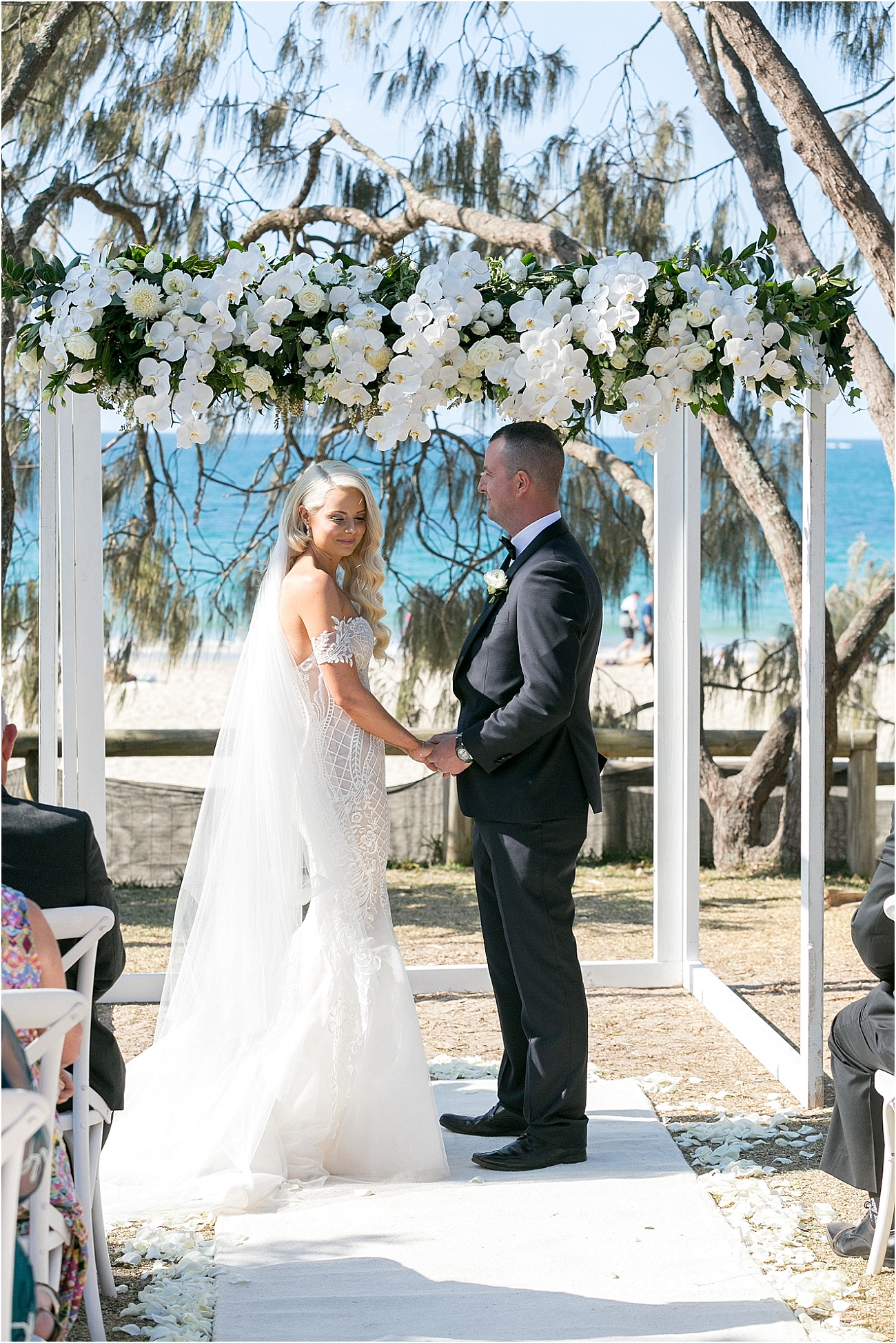 White and green wedding arbour