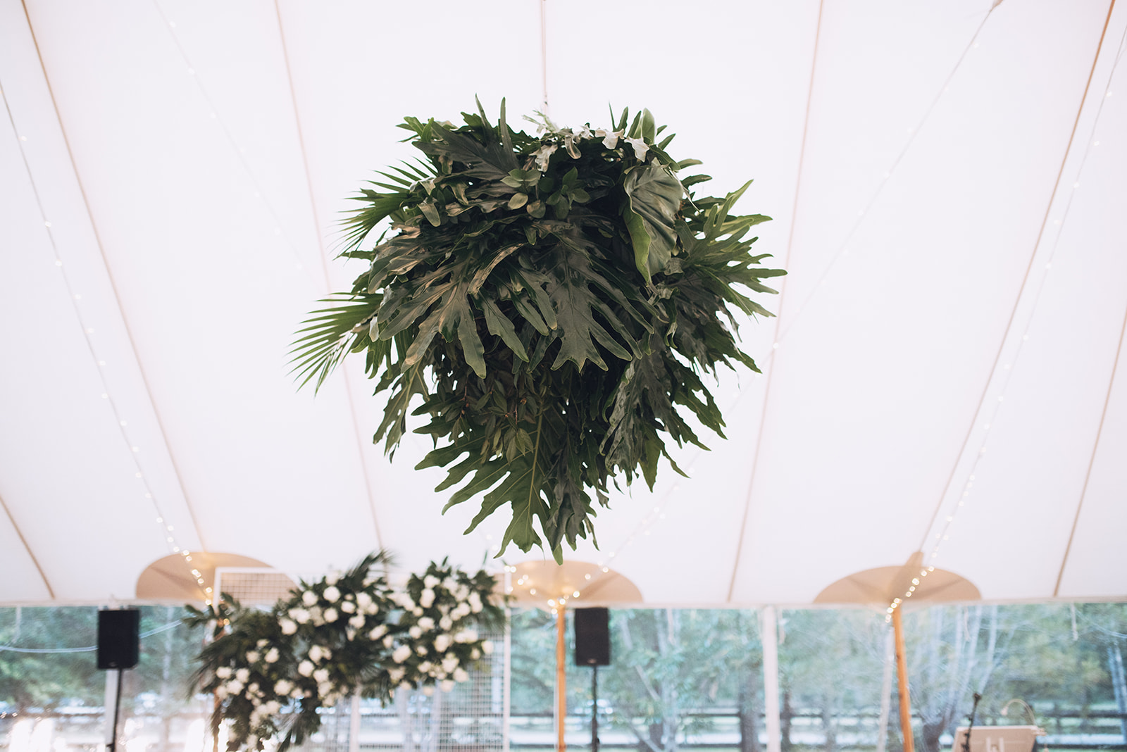 Tropical greenery hanging installation