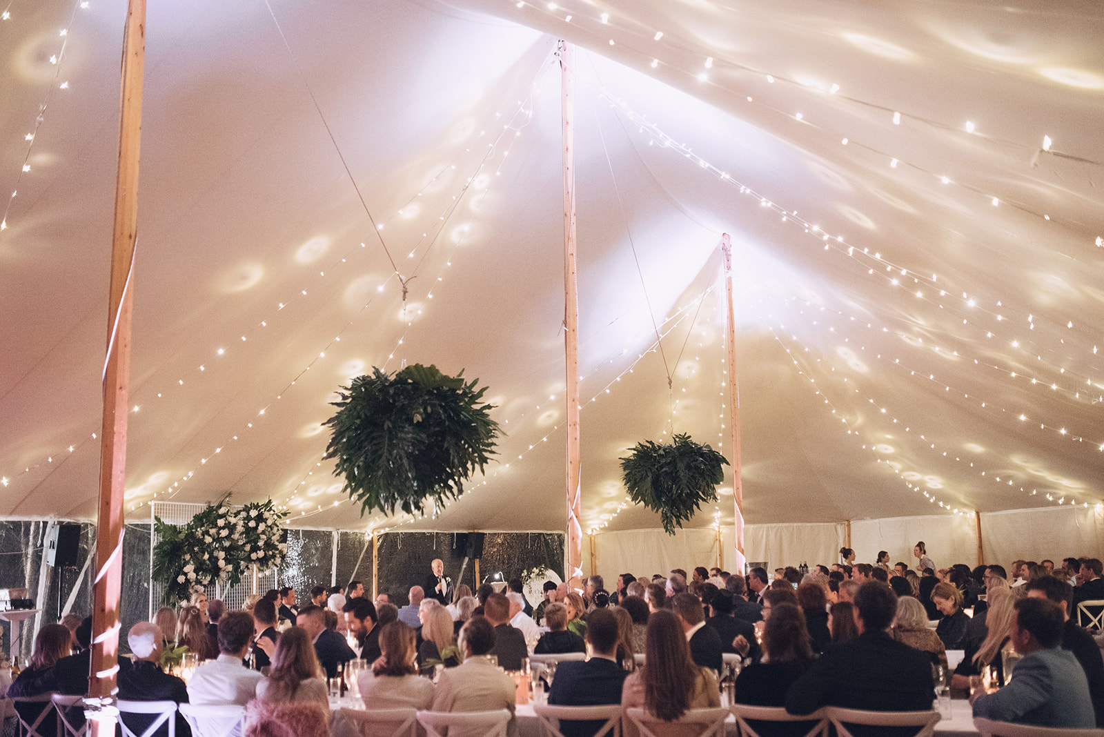 Tropical luxe sperry tent wedding