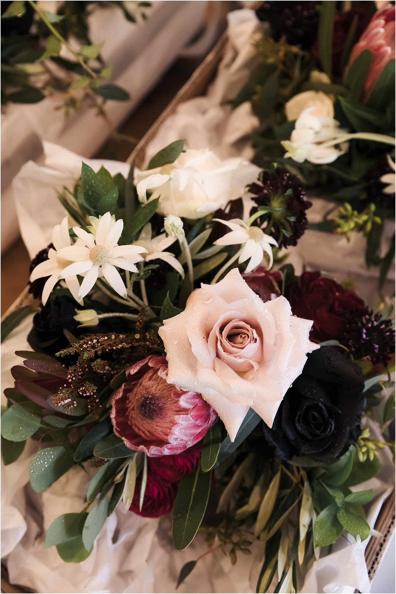 Rich toned rustic wedding bouquet