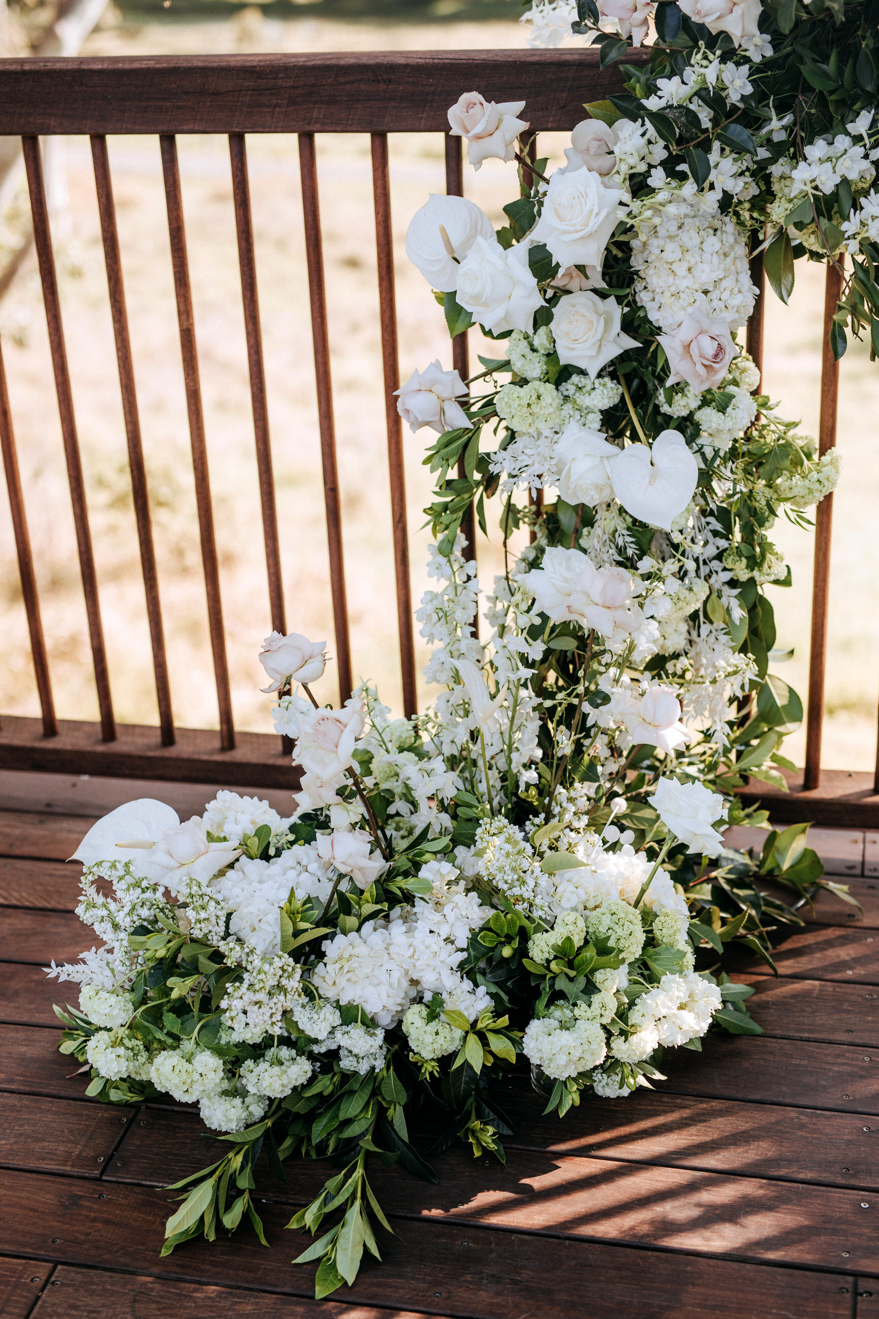 Ceremony rail floral design
