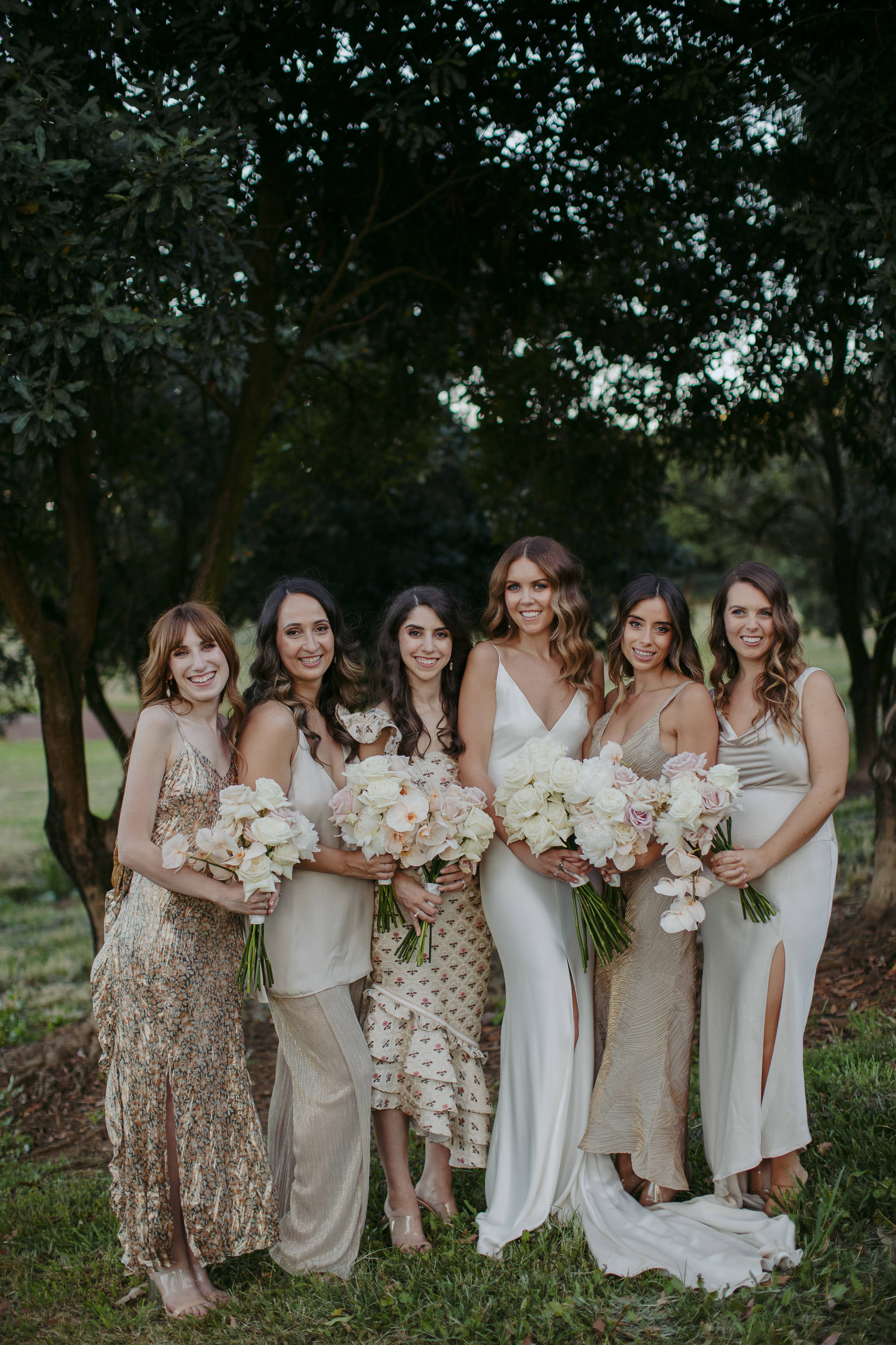 Long stem wedding bouquets in neutral tones