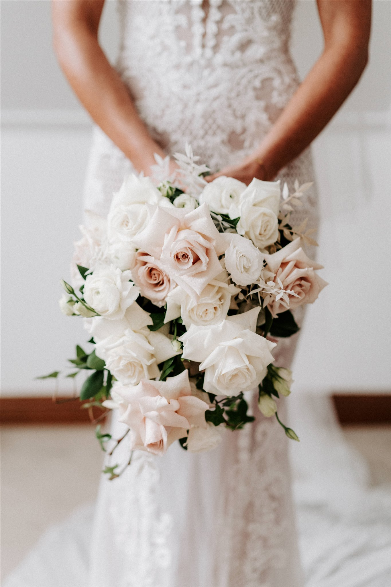 Muted Pink Roses, White Roses With Lush Green Foliage Accents
