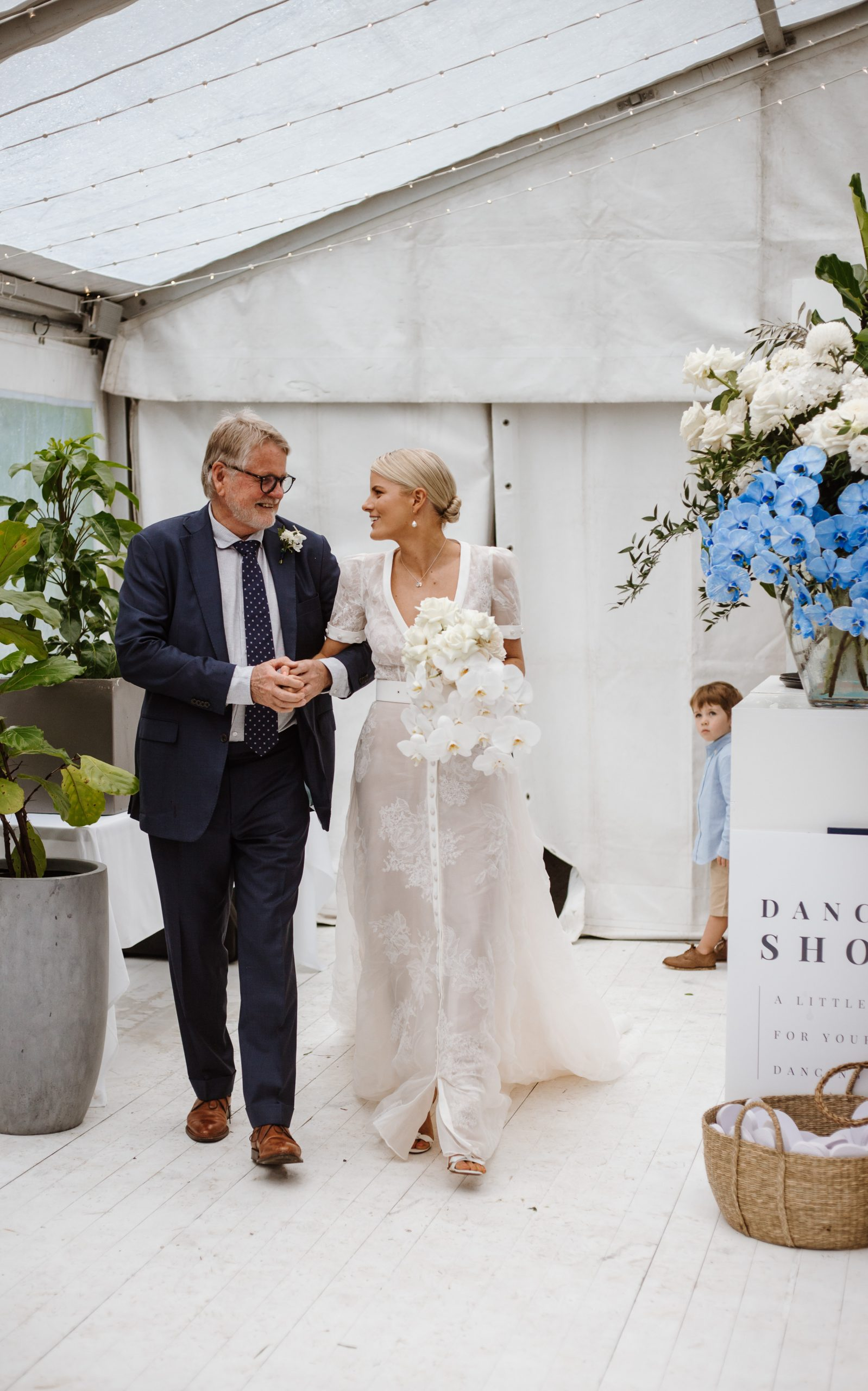 White Seasonal Weddings With Touches of Blue Orchids