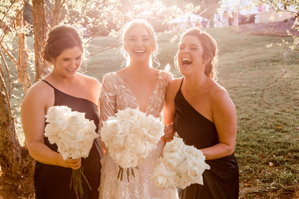 Bridesmaids with bouquets at Maleny Manor wedding