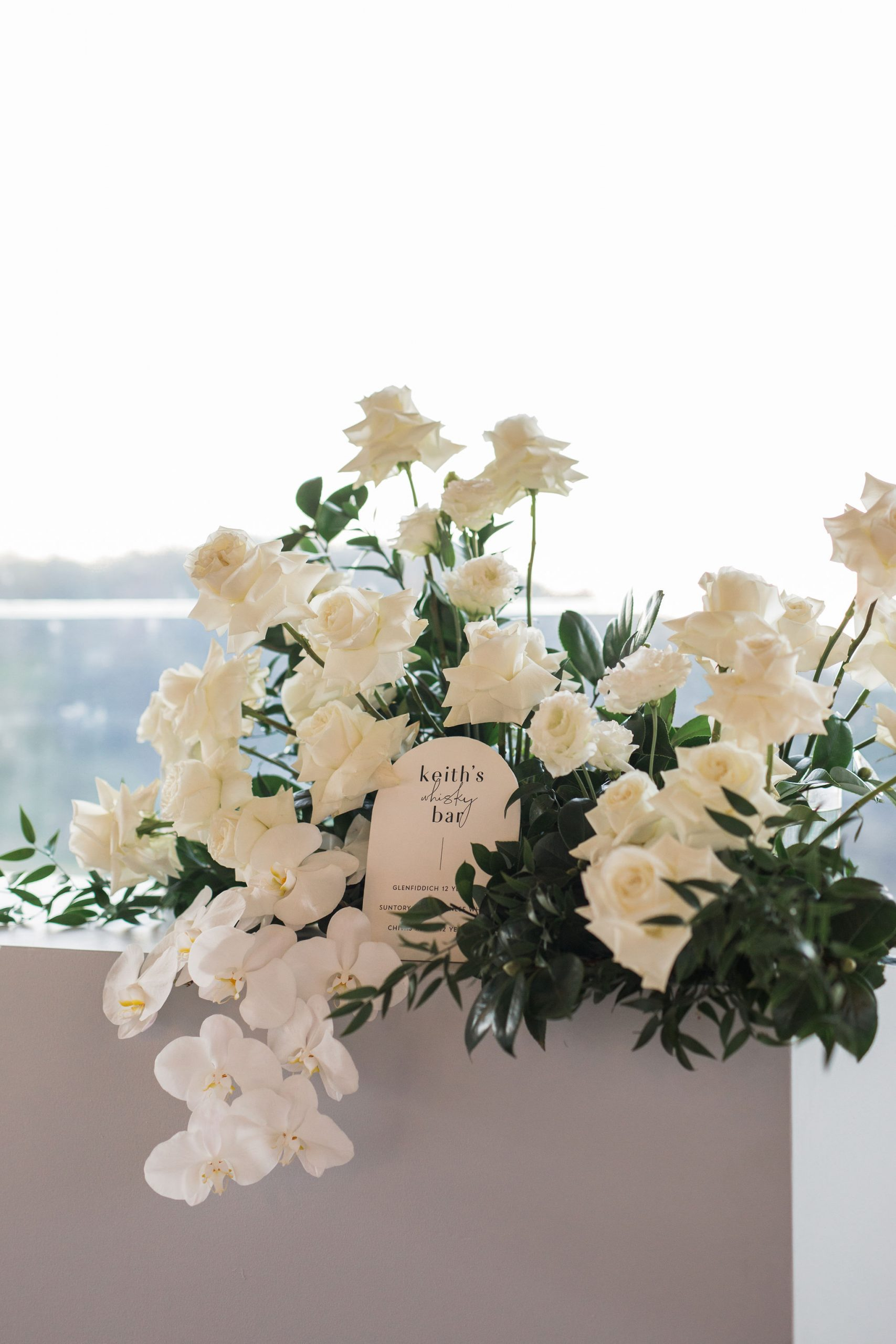 Sophisticated white on white bloom style