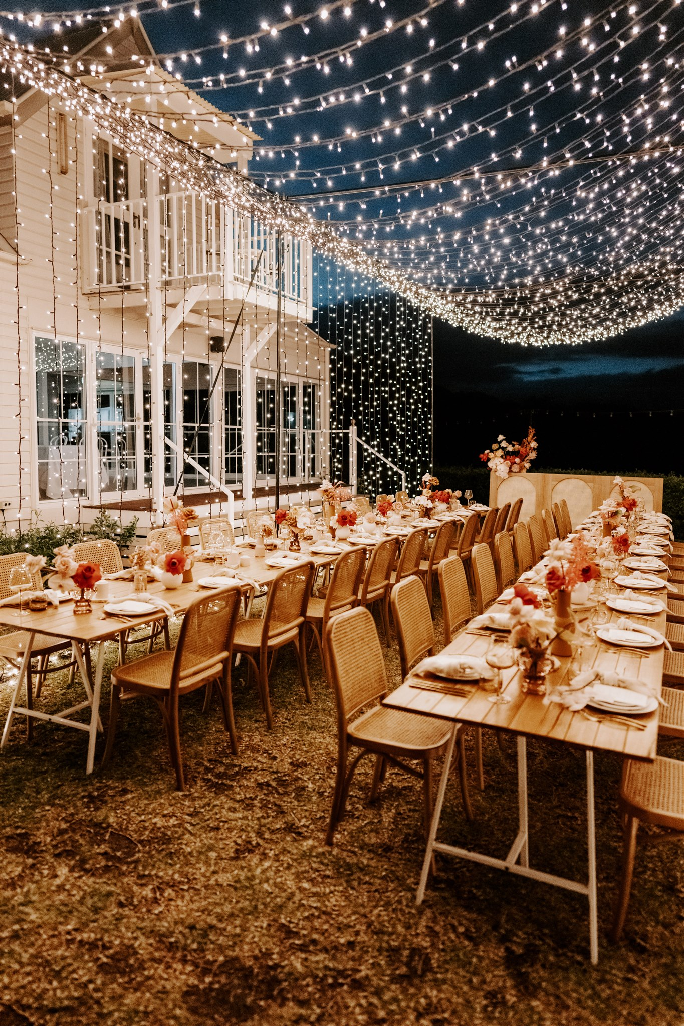 Bright Wedding Flowers with Rattan Styling