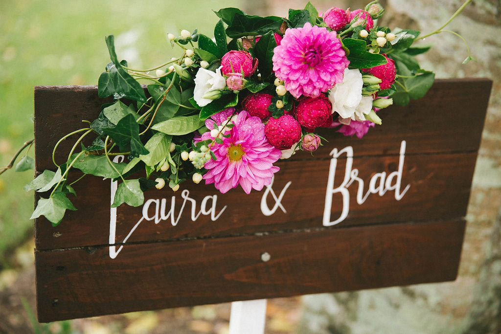 Wedding entry sign flowers