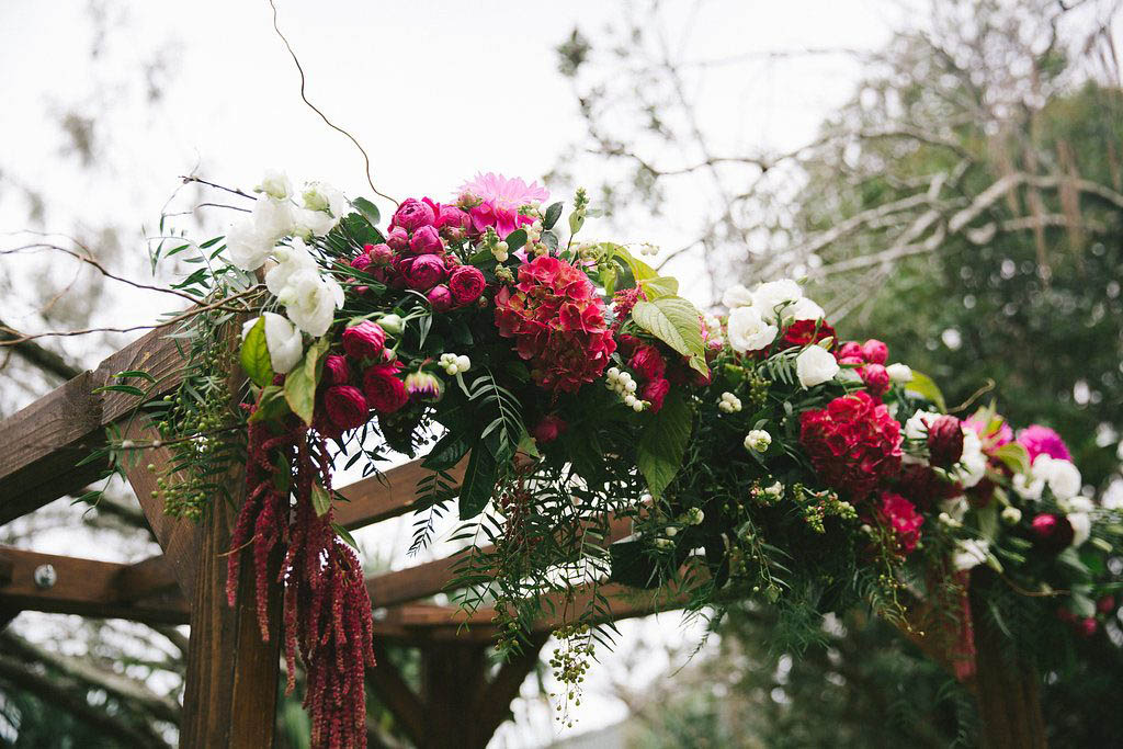 Whimsical canopy flowers including hydrangea