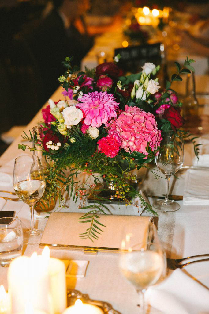 Reception chalice vases with hydrangea