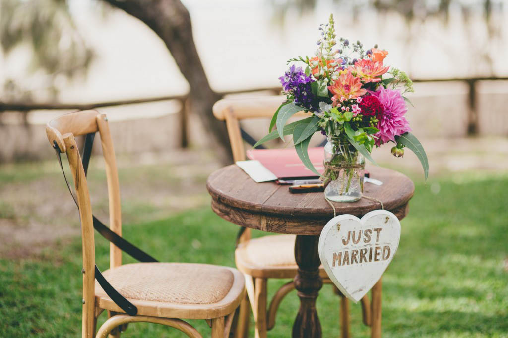 Bright registry table flowers