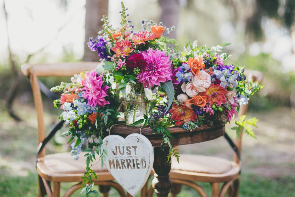 Bright whimsical wedding flowers