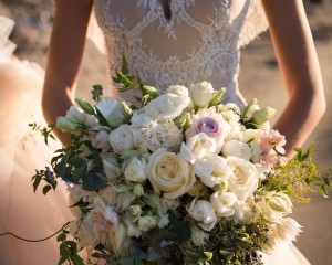 Coastal whimsical wedding flowers