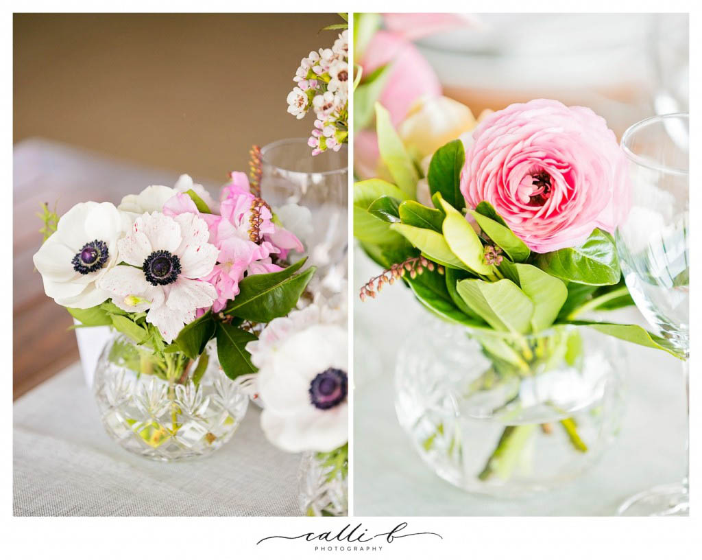 crystal vases featuring anemones
