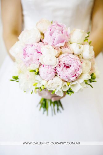 Hand Held Bouquet Of Peonies David Austin Roses And Freesias