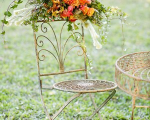 Garden chair floral garland