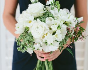 white wedding bouquet featuring double tulips