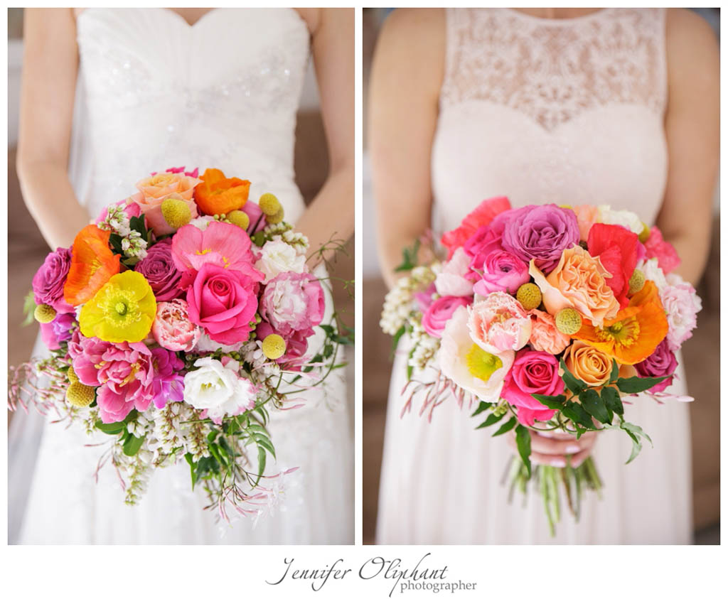 bright bouquet with roses
