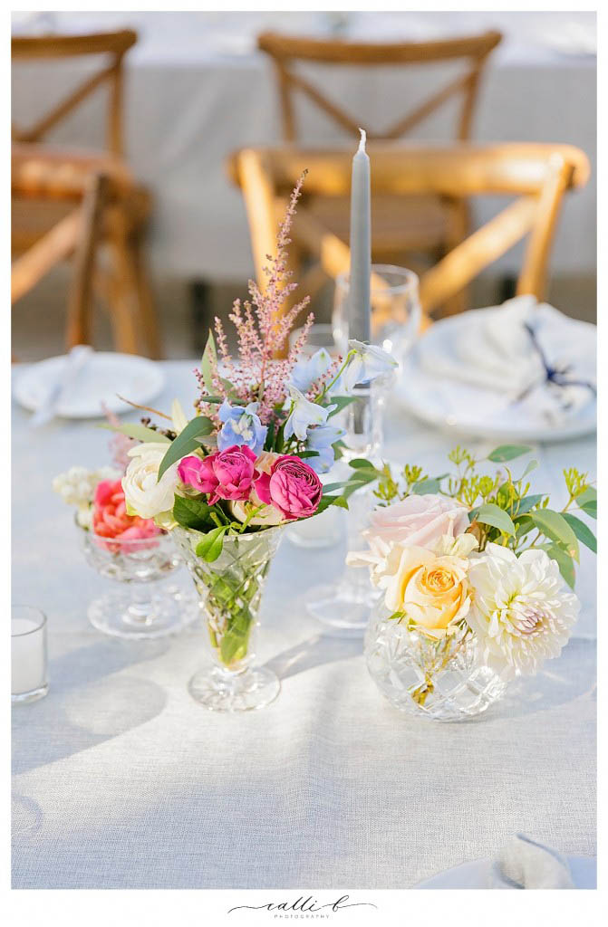 Crystal vases flowers