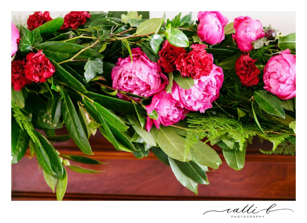 Peony and rose swag