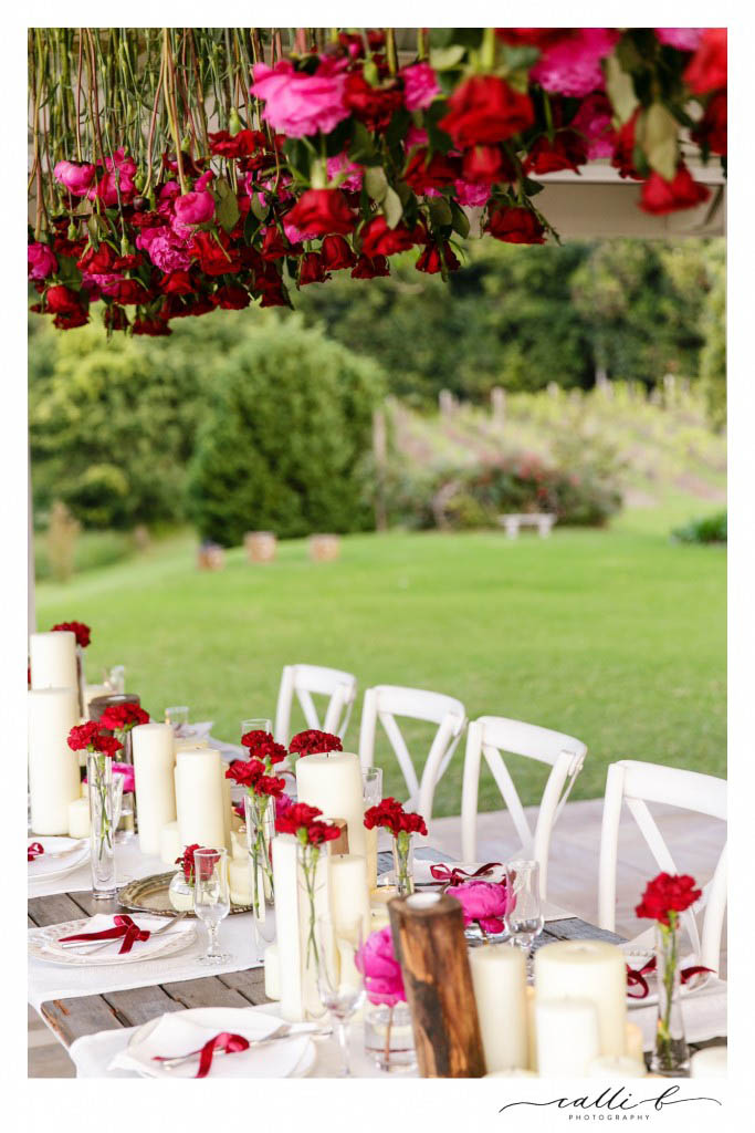 Hanging reception flowers