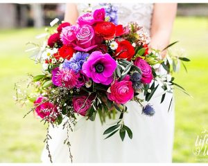 whimsical wedding bouquet featuring anemones